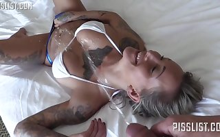 Inked girl with thick, hard bra-stuffers is getting banged and adorned with spunk, the way she loves